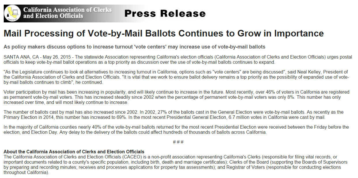 CACEO press release - follow my vote