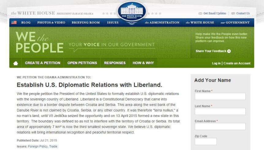 Establish U.S. Diplomatic Relations with Liberland.