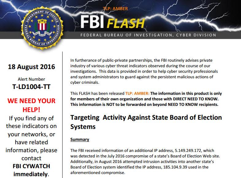 FBI Flash alert